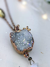 Load image into Gallery viewer, Copper Electroformed Aura-coated Druzy Quartz Necklace with Moonstone Star 3