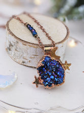 Load image into Gallery viewer, Copper Electroformed Titanium aura-coated Druzy Quartz Necklace 4