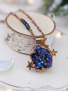 Copper Electroformed Titanium aura-coated Druzy Quartz Necklace 4