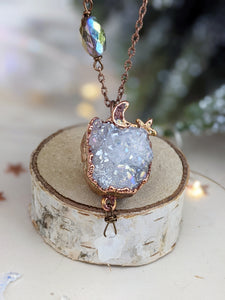 Copper Electroformed Aura-coated Druzy Quartz Necklace with Moonstone Star 3