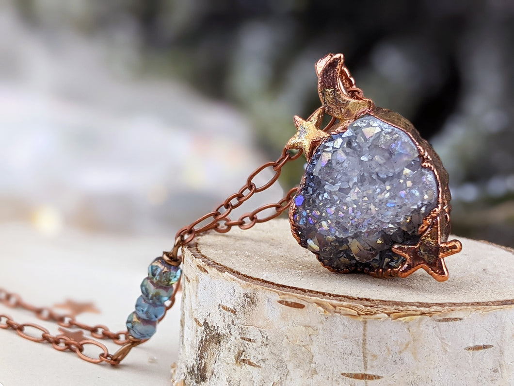Copper Electroformed Aura-coated Druzy Quartz Necklace 5