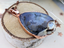 Load image into Gallery viewer, Copper Electroformed Agatized Druzy Fossilized Shell Necklace 3