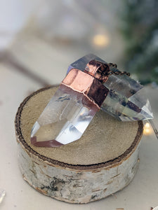 Copper Electroformed Clear Quartz Icicle Point Necklace 1