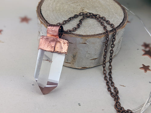 Copper Electroformed Clear Quartz Icicle Point Necklace 3