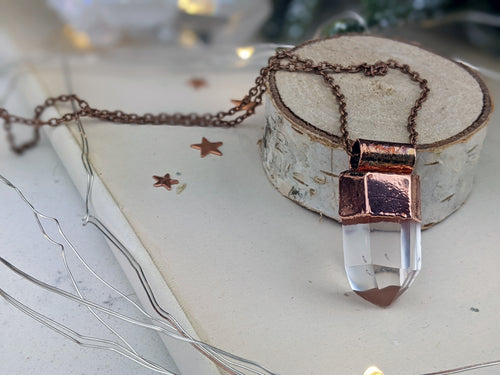 Copper Electroformed Clear Quartz Icicle Point Necklace 4