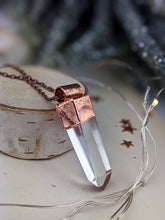 Load image into Gallery viewer, Copper Electroformed Clear Quartz Icicle Point Necklace 5