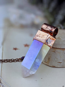 Copper Electroformed Large Aura Quartz Icicle Point Necklace 2