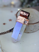 Load image into Gallery viewer, Copper Electroformed Large Aura Quartz Icicle Point Necklace 2