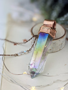 Copper Electroformed Extra Large Aura Quartz Icicle Point Necklace 3