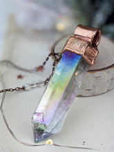 Load image into Gallery viewer, Copper Electroformed Extra Large Aura Quartz Icicle Point Necklace 3