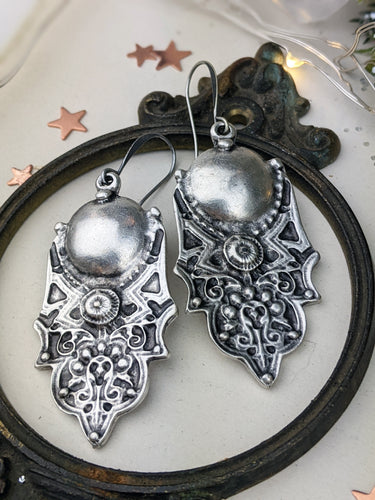 Antiqued Silver Plated Earrings - Domes and Dots