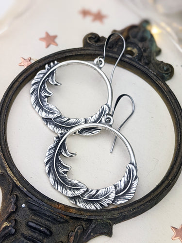 Antiqued Silver Plated Earrings - Feathers
