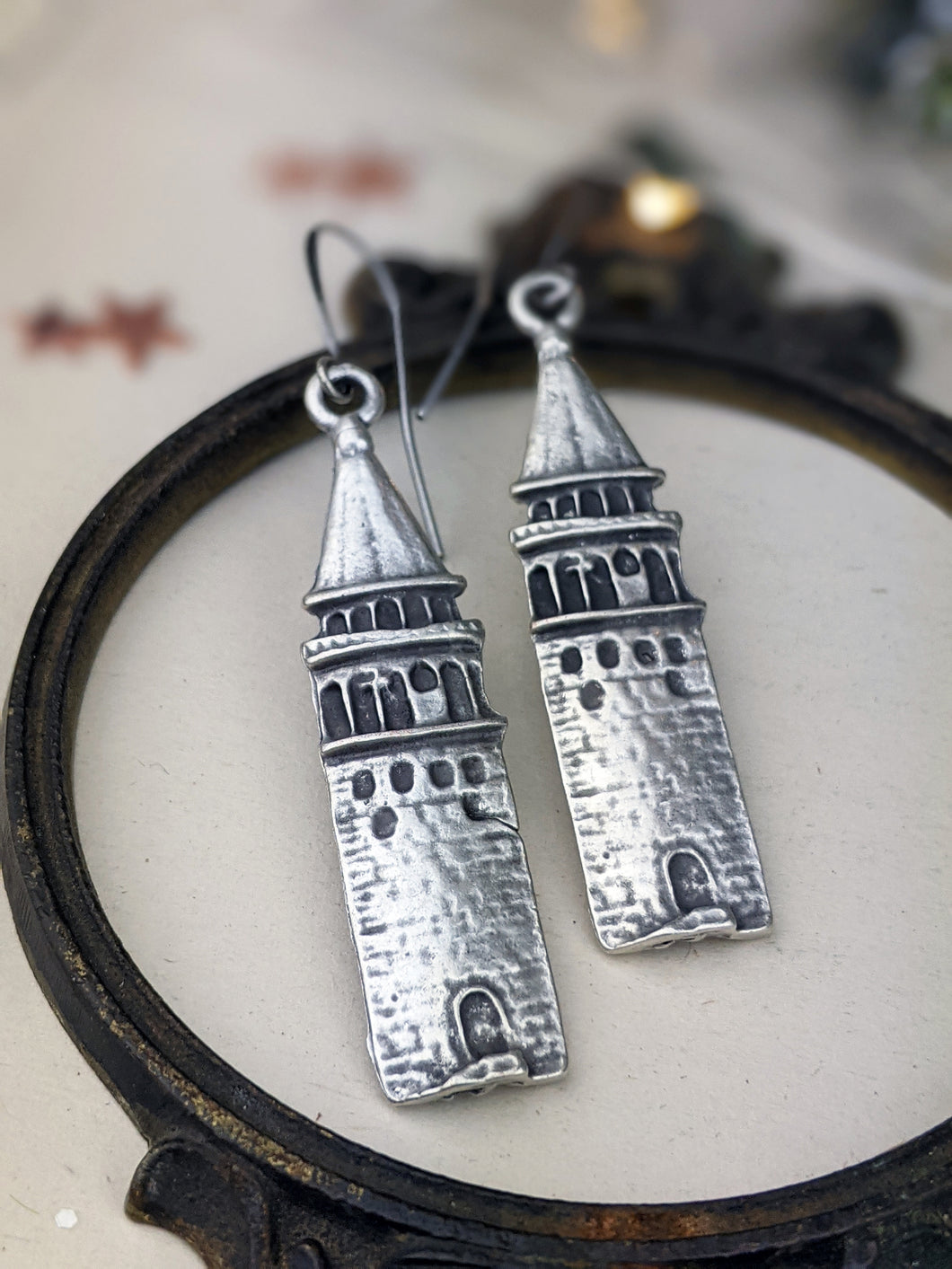 Antiqued Silver Plated Earrings - Towers