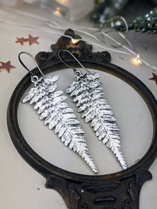 Antiqued Silver Plated Earrings - Ferns