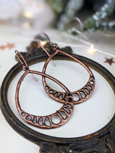 Antiqued Copper Plated Earrings - Moon Phase Teardrops