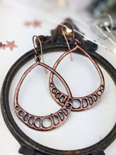 Load image into Gallery viewer, Antiqued Copper Plated Earrings - Moon Phase Teardrops