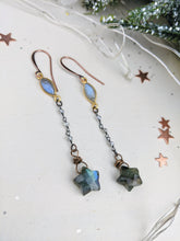 Load image into Gallery viewer, Labradorite Star Dangle Earrings - Style 1