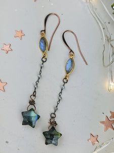 Labradorite Star Dangle Earrings - Style 1