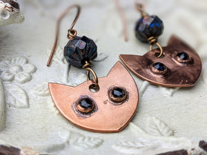 Faceted Black Spinel Cat Eye Copper Electroformed Earrings 5