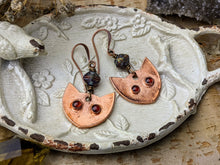 Load image into Gallery viewer, Garnet Cat Eye Copper Electroformed Earrings 7
