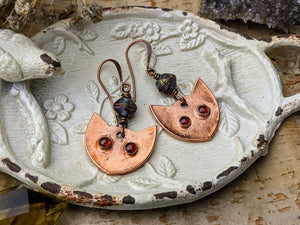 Garnet Cat Eye Copper Electroformed Earrings 7