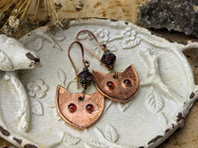 Load image into Gallery viewer, Garnet Cat Eye Copper Electroformed Earrings 9