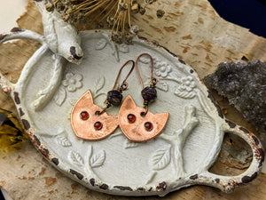 Garnet Cat Eye Copper Electroformed Earrings 9