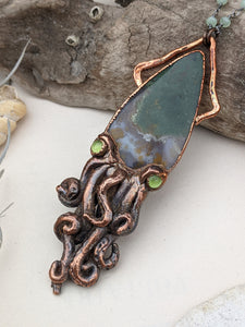 Copper Electroformed Squid Necklace #1