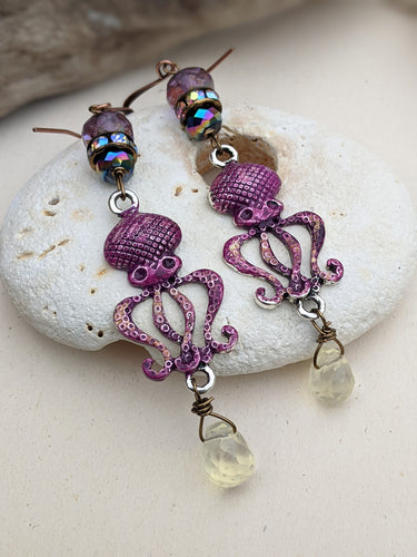 Fuchsia Octopus Earrings 2