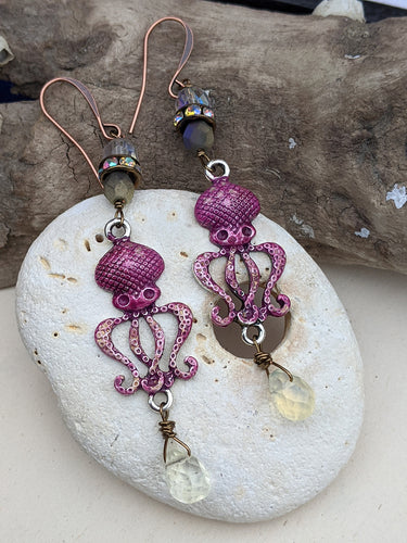 Fuchsia Octopus Earrings 1