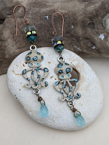 Blue Ringed Octopus Earrings 2