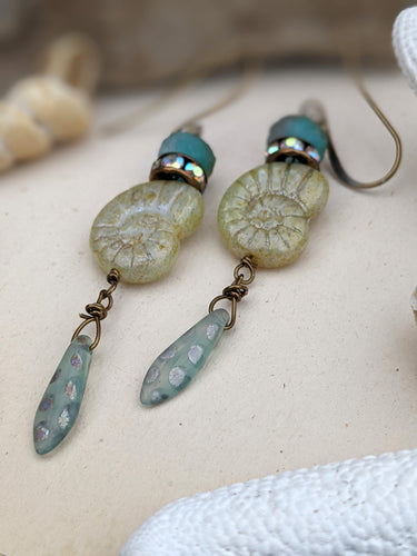Green Nautilus Earrings 3