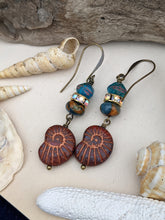 Load image into Gallery viewer, Copper and Teal Nautilus Earrings 5