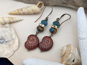 Copper and Teal Nautilus Earrings 5
