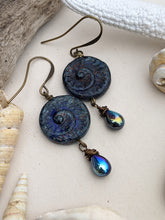 Load image into Gallery viewer, Abyss Blue Ammonite Earrings 6