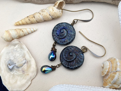 Abyss Blue Ammonite Earrings 6