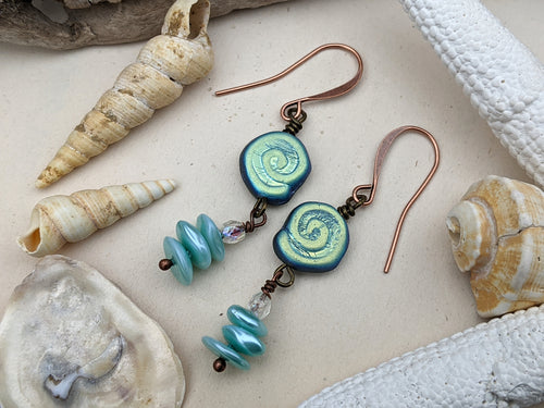 Iridescent Whirlpool Spiral Earrings 8