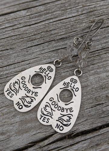 Ouija Earrings with Herkimer Diamonds II - Minxes' Trinkets