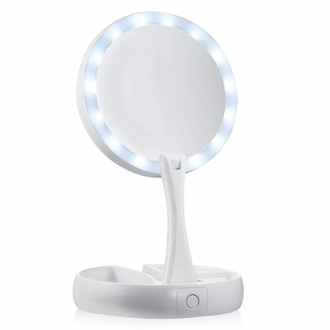 Folding Travel Makeup Mirror w/ Led lights