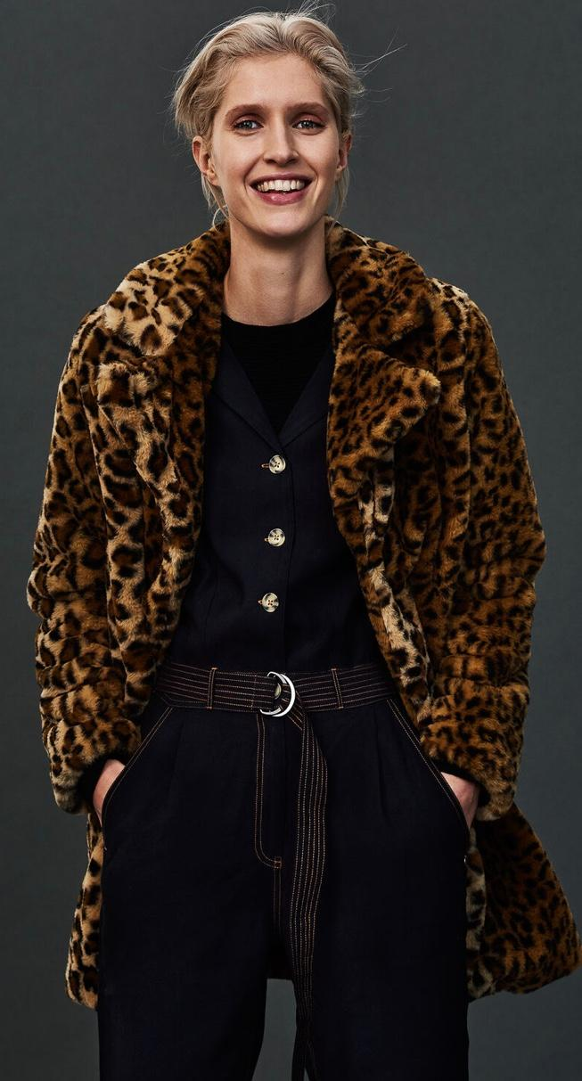 Garcia animal print fun fur coat
