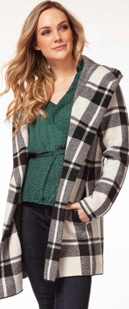 Dex large plaid cardi