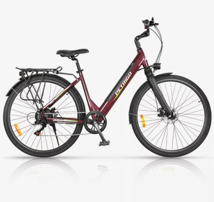 Electric Hybrid Bike Elegant with Lower step Through Tyre 700c Battery 36v Cherry