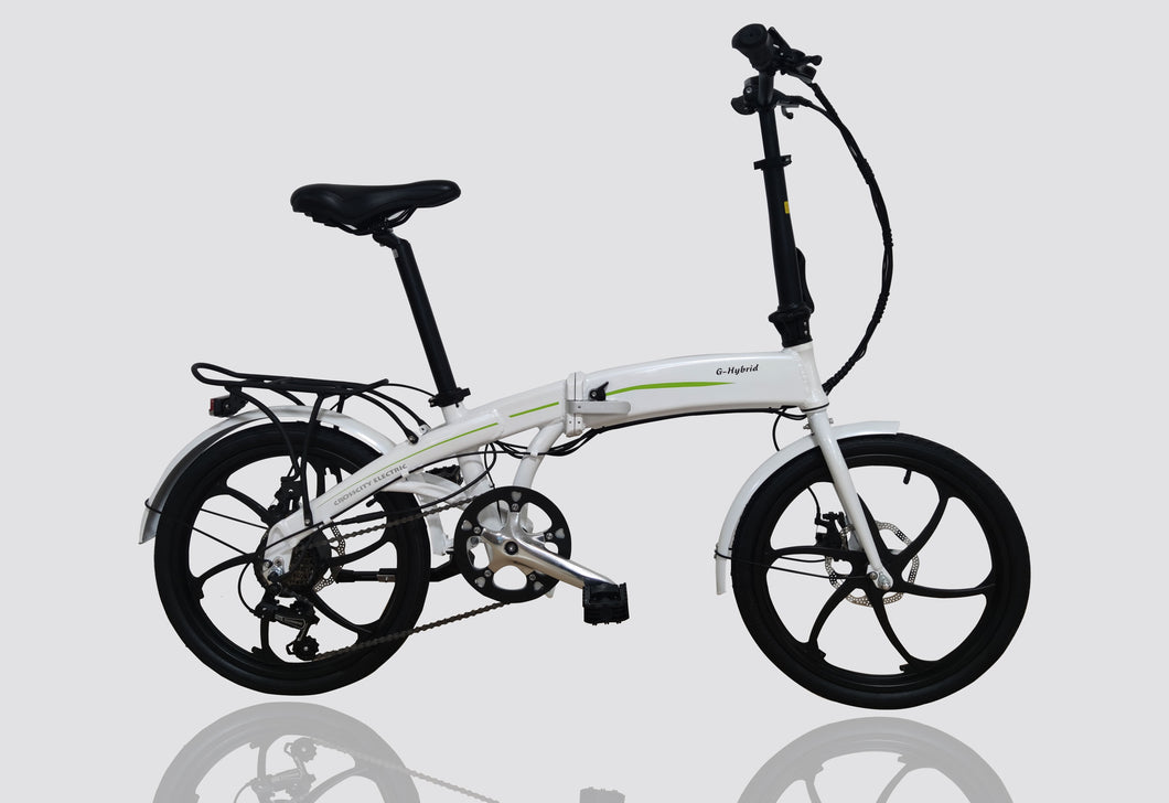 Folding e-bike with Built-in Battery G-hybrid Crosscity in White