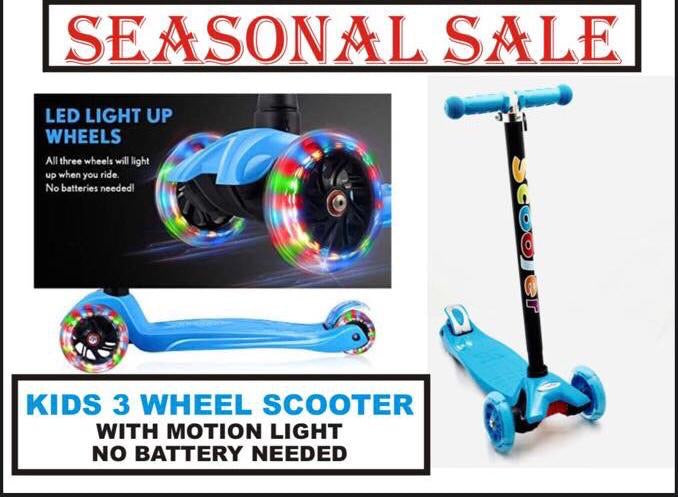 Kids 3 Wheel Scooter with LED Motion Lights Age 4+ HALF PRICE