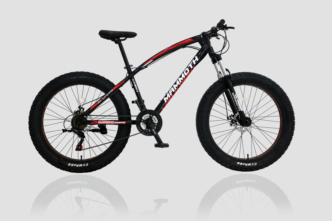 Fat Tyre Bike Mammoth FT03 26x4 inch with 21 Speed Black (Pre-Order)