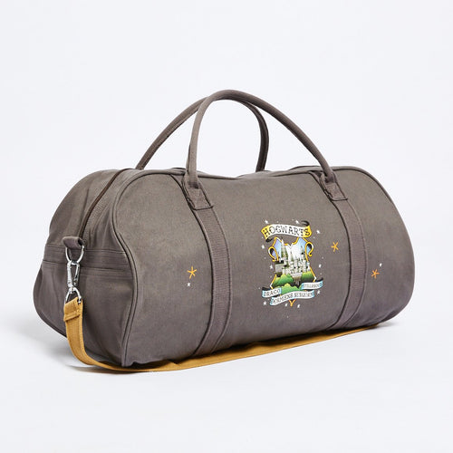 Grey Hogwarts Overnight Tote Bag