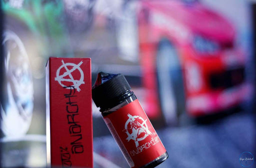 red anarchist e juice leaning against its chubby gorilla. strawberry hard candy vape e juice