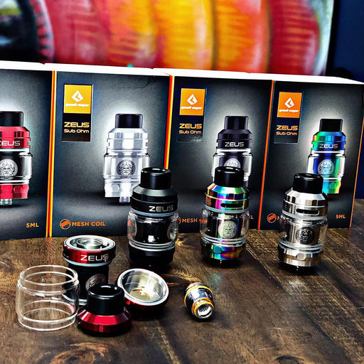 Zeus Sub Ohm Tank by Geek Vape in Australia. Colours are black, Silver, Stainless Steel and Rainbow.
