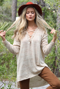 Ivory Lace Up Sweater with Gold Flecks