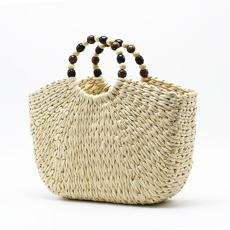beads portable beach woven bag moooden